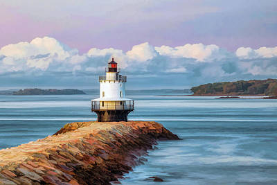 Poster featuring the painting Spring Point Ledge Lighthouse by Christopher Arndt