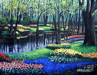 Poster featuring the painting Spring Splendor Tulip Garden by Patricia L Davidson