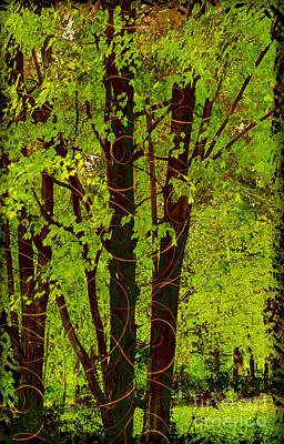 Spring Splendor, Verdant Green Fall Leaves Poster