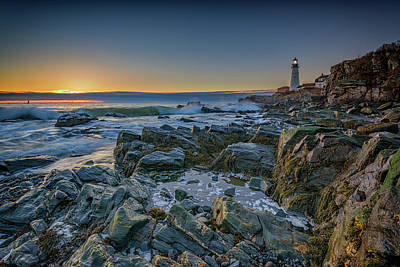 Spring Sunrise At Portland Head Poster by Rick Berk