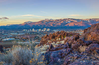 Spring Sunrise Overlooking Reno Nevada Poster by Scott McGuire