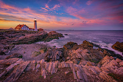 Spring Sunset At Portland Head Lighthouse Poster by Rick Berk