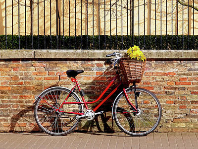 Poster featuring the photograph Spring Sunshine And Shadows - Bicycle In Cambridge by Gill Billington