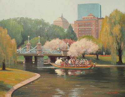 Spring Swan Glide Poster by Dianne Panarelli Miller