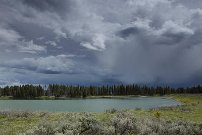 Spring Thunderstorm At Yellowstone Poster