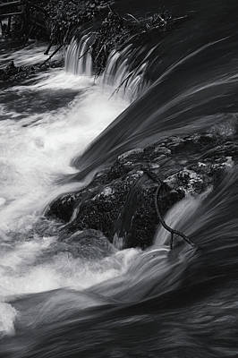 Spring Water Stream Black And White Poster by Jenny Rainbow