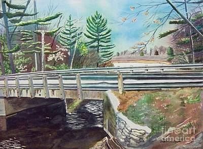 Poster featuring the painting Springtime At Bass Lake Bridge by LeAnne Sowa
