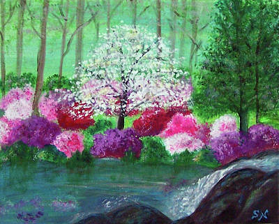 Poster featuring the painting Springtime Azaleas In Georgia by Sonya Nancy Capling-Bacle