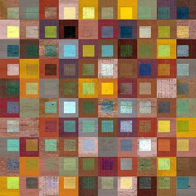 Squares In Squares Four Poster by Michelle Calkins