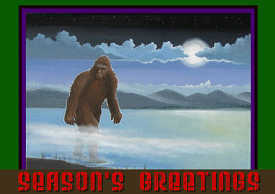 Poster featuring the digital art Squatch Season's Greetings by Stuart Swartz