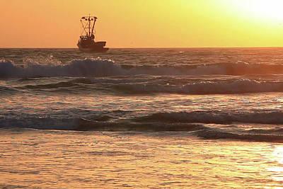Squid Boat Golden Sunset Poster