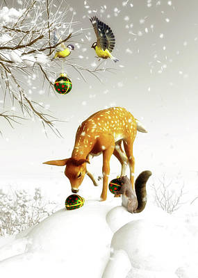 Poster featuring the painting Squirrels And Deer Christmas Time by Jan Keteleer