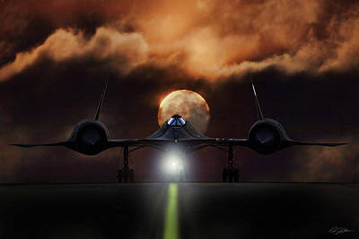 Poster featuring the digital art Sr-71 Supermoon by Peter Chilelli