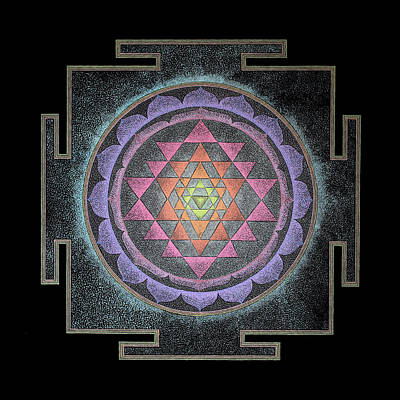 Poster featuring the painting Sri Yantra by Keiko Katsuta