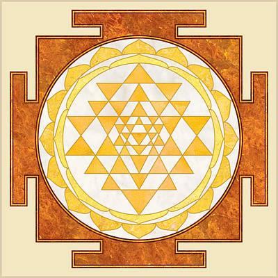 Sri Yantra. Sri Chakra. Yoga Decor. Marble Texture. Poster by Ananta Govinda