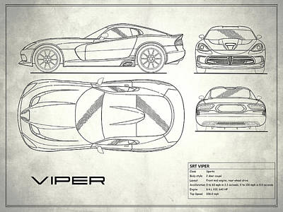 Srt Viper Blueprint Poster by Mark Rogan