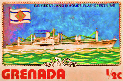 S.s Geestland And House Flag Geest Line Poster