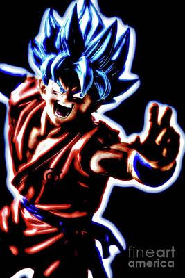 Poster featuring the digital art Ssjg Goku by Ray Shiu