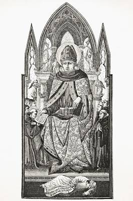 St Augustine Bishop Of Hippo 354 To 430 Poster by Vintage Design Pics