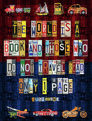 St Augustine Quote On Travel The World Is A Book Recycled Vintage License Plate Art Poster by Design Turnpike