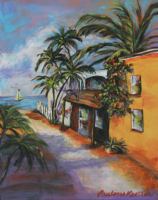 Poster featuring the painting St Augustine Street by Pauline  Kretler