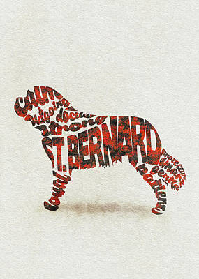 St. Bernard Dog Watercolor Painting / Typographic Art Poster