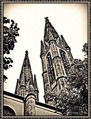 St Boniface Church Towers Sepia Poster by Sarah Loft