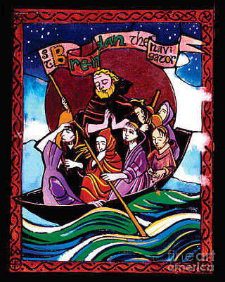 St. Brendan The Navigator - Mmbre Poster by Br Mickey McGrath OSFS