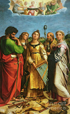 St Cecilia Surrounded By St Paul, St John The Evangelist, St Augustine And Mary Magdalene Poster by Raphael