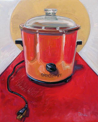 St. Crock Pot In Orange Poster by Jennie Traill Schaeffer