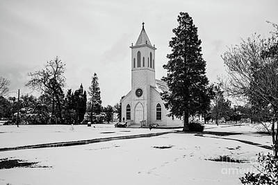 St. Gabriel Church In The Snow - Bw Poster