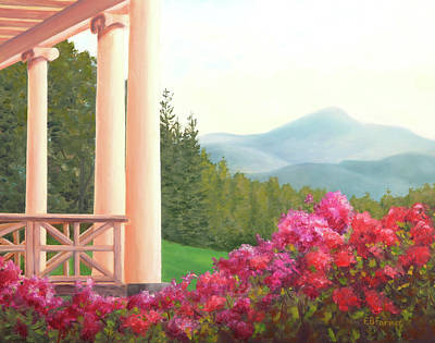 St. Gaudens Porch View, Cornish, Nh Poster by Elaine Farmer