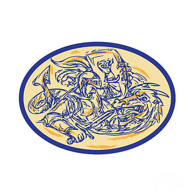 St George Fighting Dragon Drawing Poster by Aloysius Patrimonio