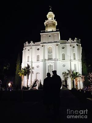 St George Lds Temple At Night During Christmas Season Poster by Richard W Linford