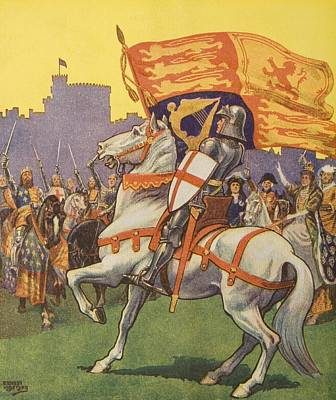 St George With Royal Standard & Shield Poster by Vintage Design Pics
