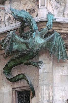 Dragon On Munich City Hall Poster by Carol Groenen