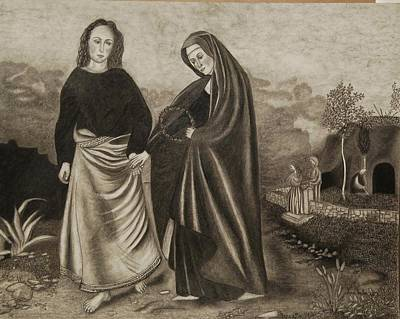 St. John And Blessed Mother At The Tomb Poster