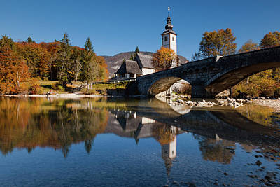 Poster featuring the photograph St. John The Baptist On The Lake Bohinj by Davor Zerjav