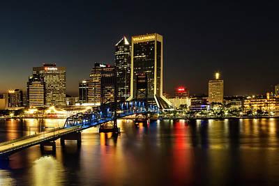 St Johns River Skyline By Night, Jacksonville, Florida Poster