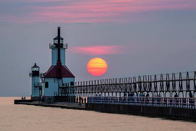 Poster featuring the photograph St. Joseph Lighthouse At Sunset by Adam Romanowicz