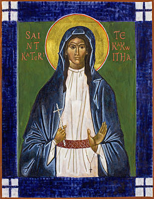 St. Kateri Tekakwitha Icon Poster by Jennifer Richard-Morrow