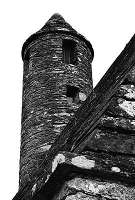 St Kevins Chapel Tower Glendalough Monastary County Wicklow Ireland Black And White Poster