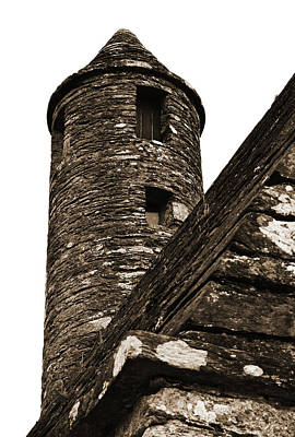 St Kevins Chapel Tower Glendalough Monastary County Wicklow Ireland Sepia Poster