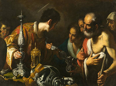 St. Lawrence Distributing The Treasures Of The Church Poster by Bernardo Strozzi