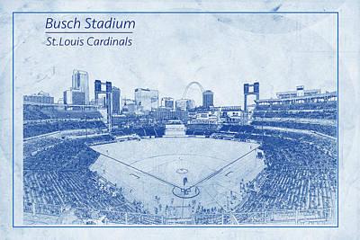 St. Louis Cardinals Busch Stadium Blueprint Names Poster