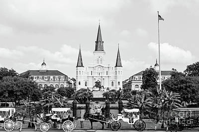 St. Louis Cathedral New Orleans - Bw Poster
