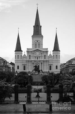 St Louis Cathedral On Jackson Square In The French Quarter New Orleans Black And White Poster by Shawn O'Brien