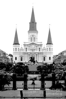 St Louis Cathedral On Jackson Square In The French Quarter New Orleans Conte Crayon Digital Art Poster by Shawn O'Brien