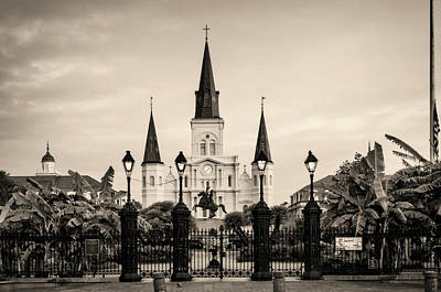 St. Louis Cathedral Sepia Poster