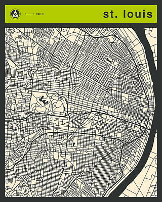 St Louis Street Map Poster by Jazzberry Blue
